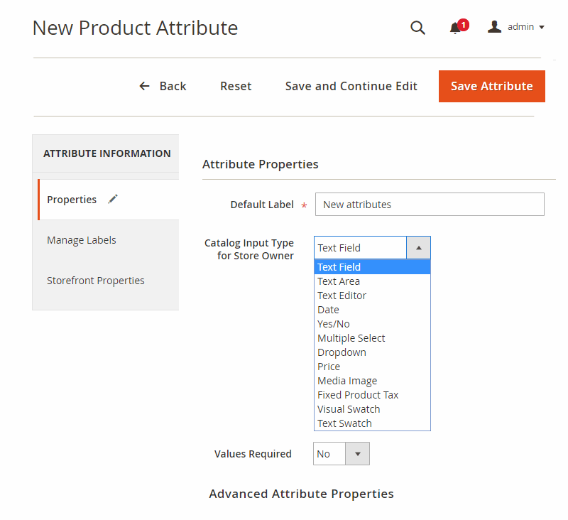 product attributes magento 2-properties