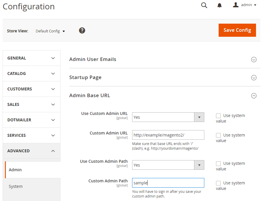 Change admin URL by using admin panel configuration