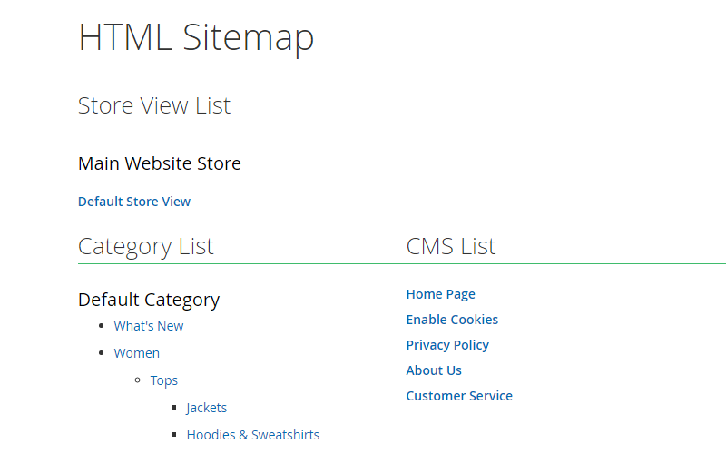 magento 2 seo extension - html sitemap