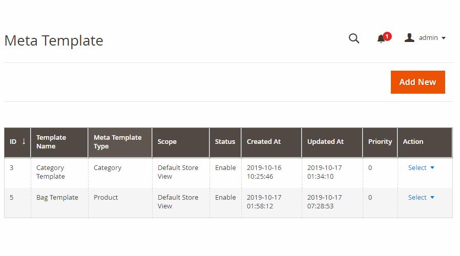 magento 2 seo module - meta tag template