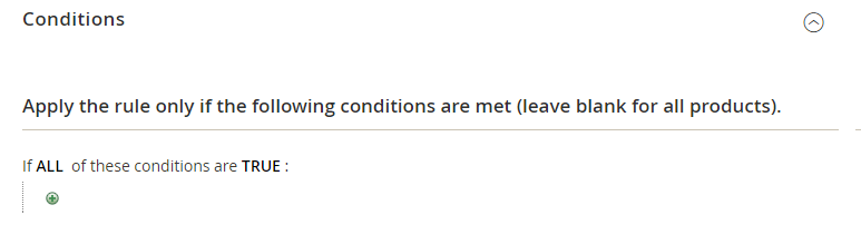 Example of cart price rule conditions in Magento 2