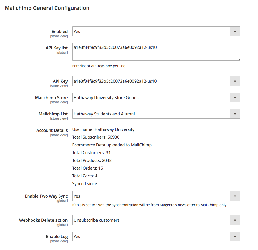 Mailchimp-general-configuration