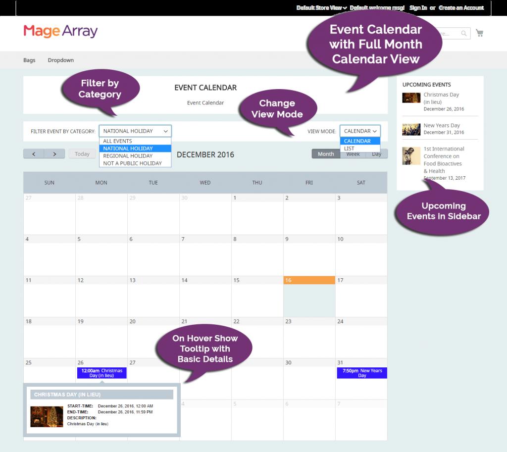 magento 2 event calendar