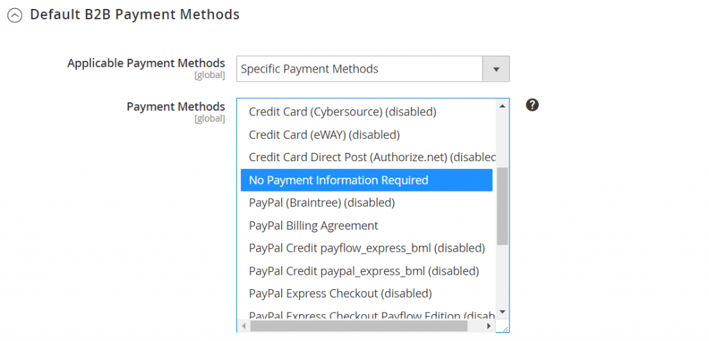 magento 2 enable b2b features - payment method