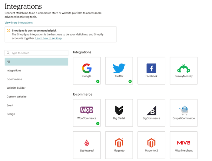 list-of-integration-ecommerce-platform-in-mailchimp-account