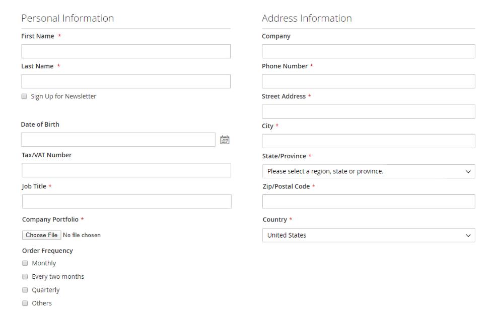 magento 2 b2b registration & customer attribute