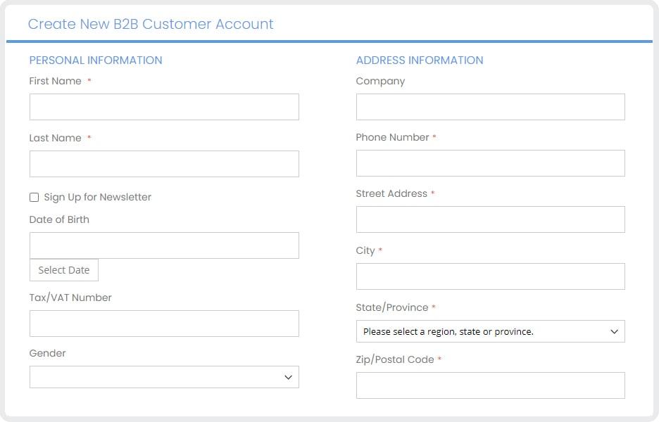 magento b2b and b2c - b2b registration