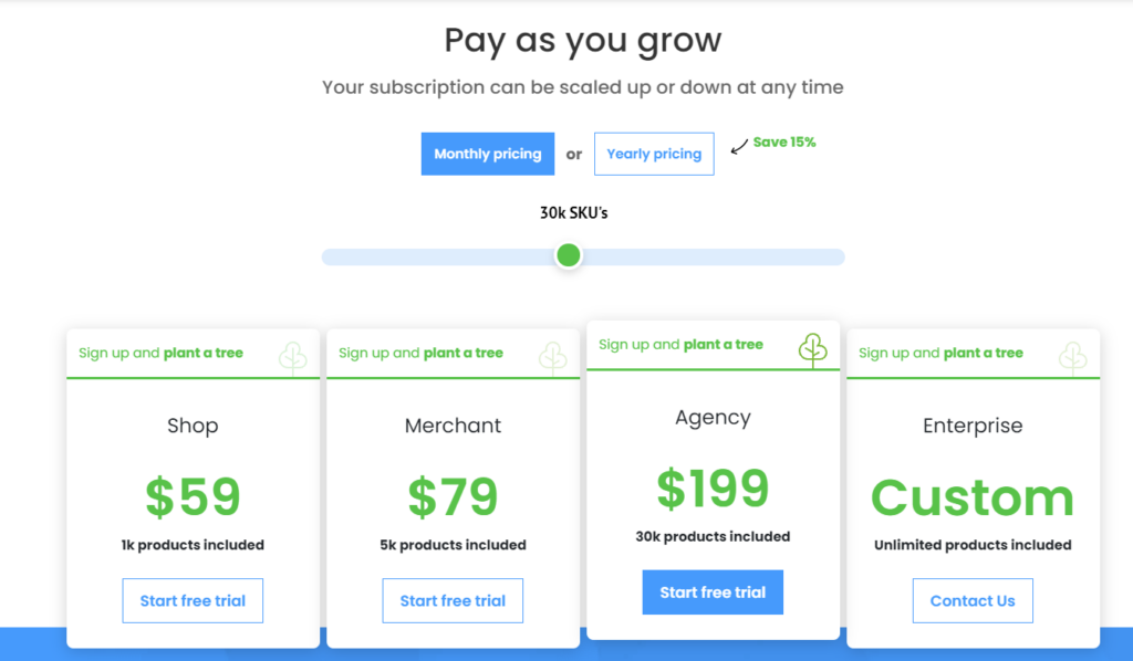 datafeedwatch pricing plans