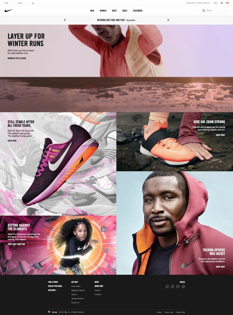 Nike's successful storytelling visual commerce in website