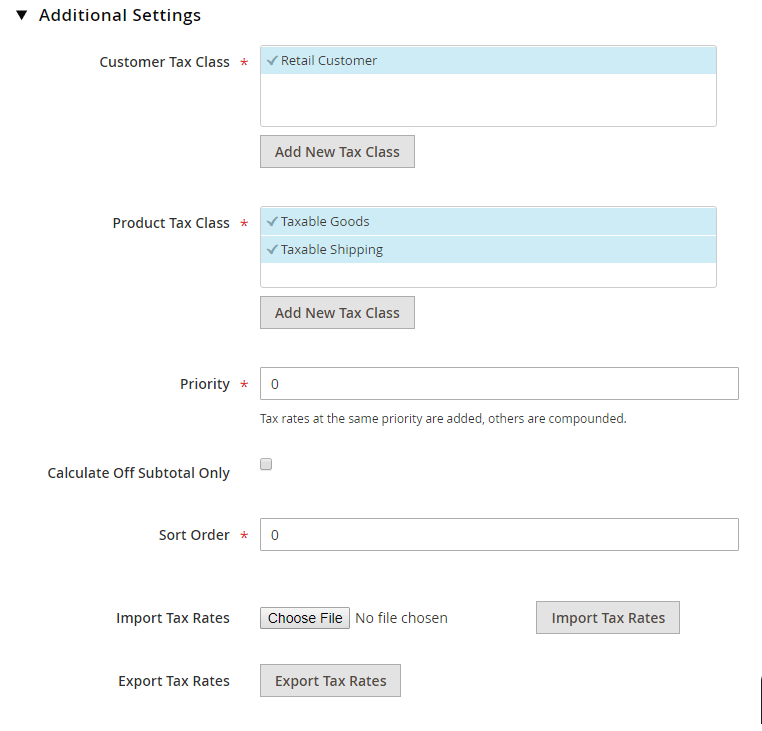 tax additional settings