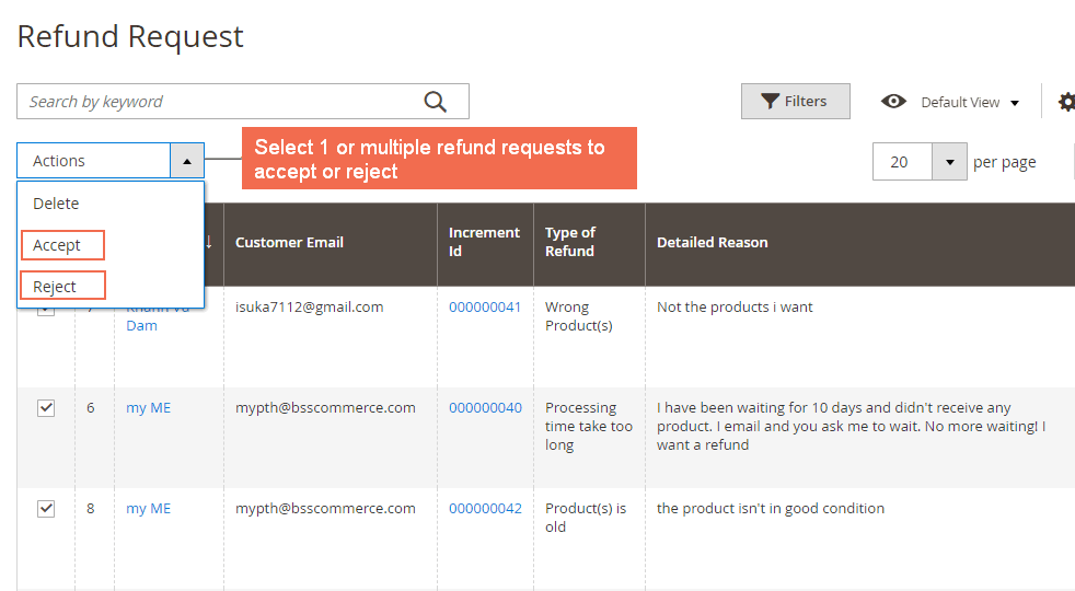 Accept / reject a request in Magento 2 Refund Request by Customer extension