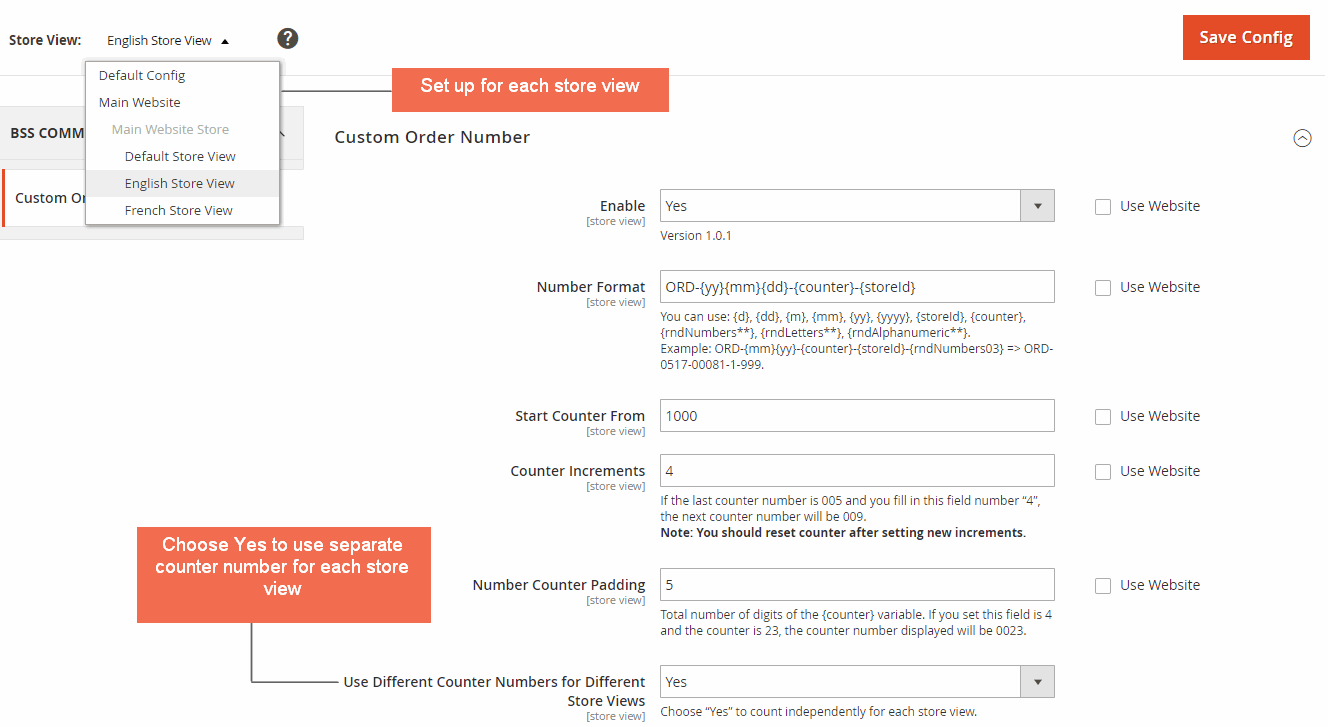 custom order number magento - store view