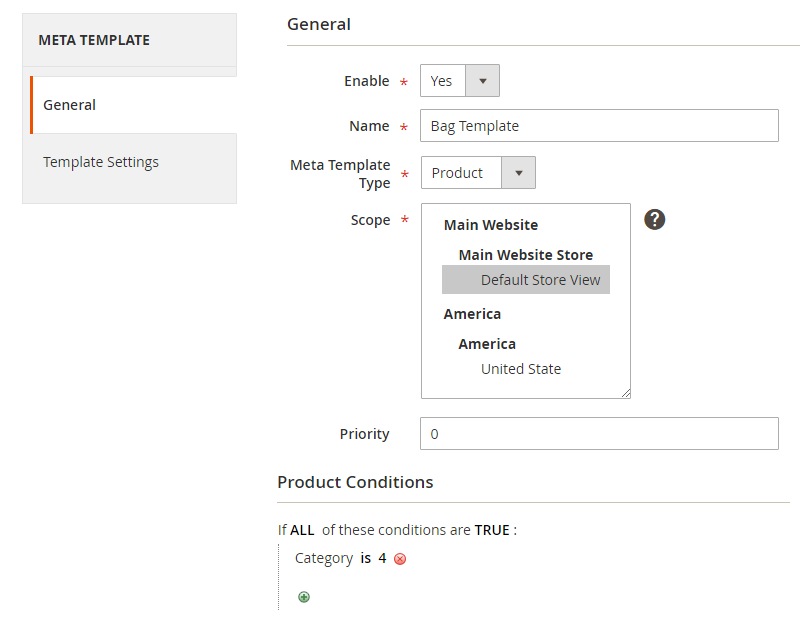Create a meta tag template for products and assign the template by condition