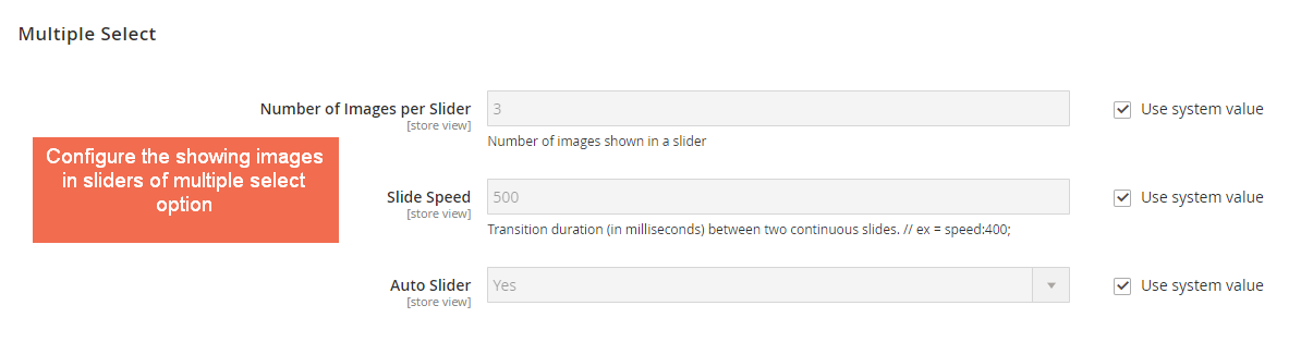 Configure the showing images in sliders of multiple select input type