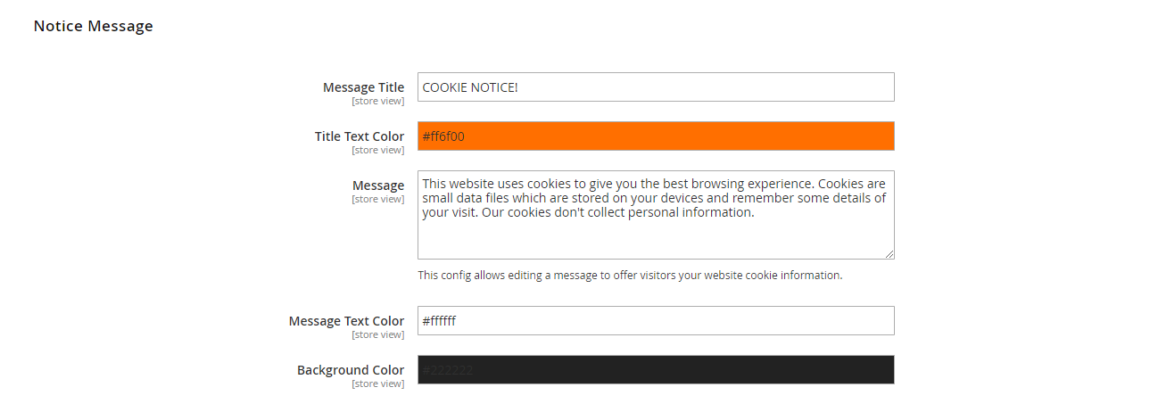 Edit the cookie message