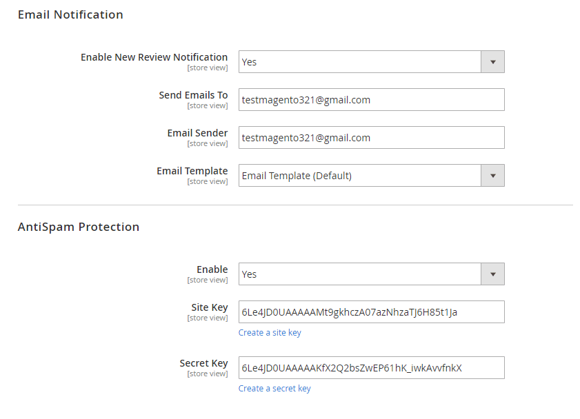 Configuration in the backend
