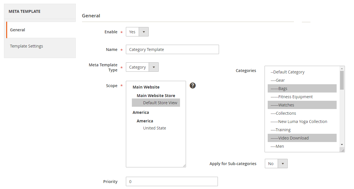 Create a meta tag template for categories