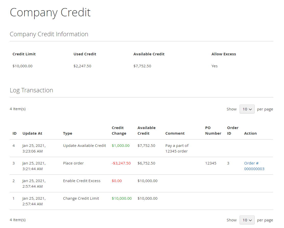 Company Credit Information on Frontend