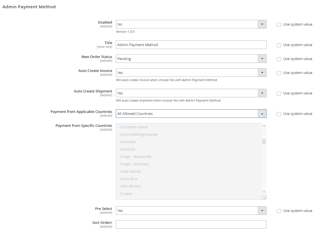 Magento 2 admin payment method - settings