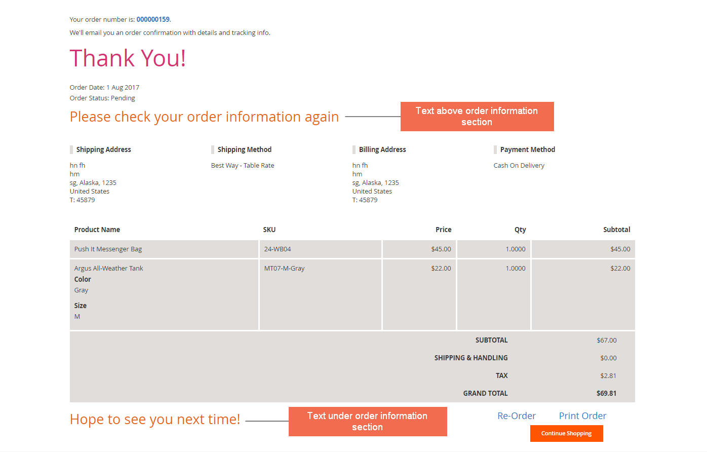 Show all order details on Magento 2 thank you page