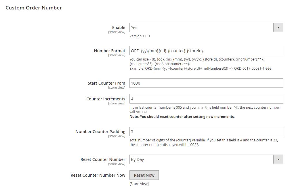 custom order number magento 2 - settings