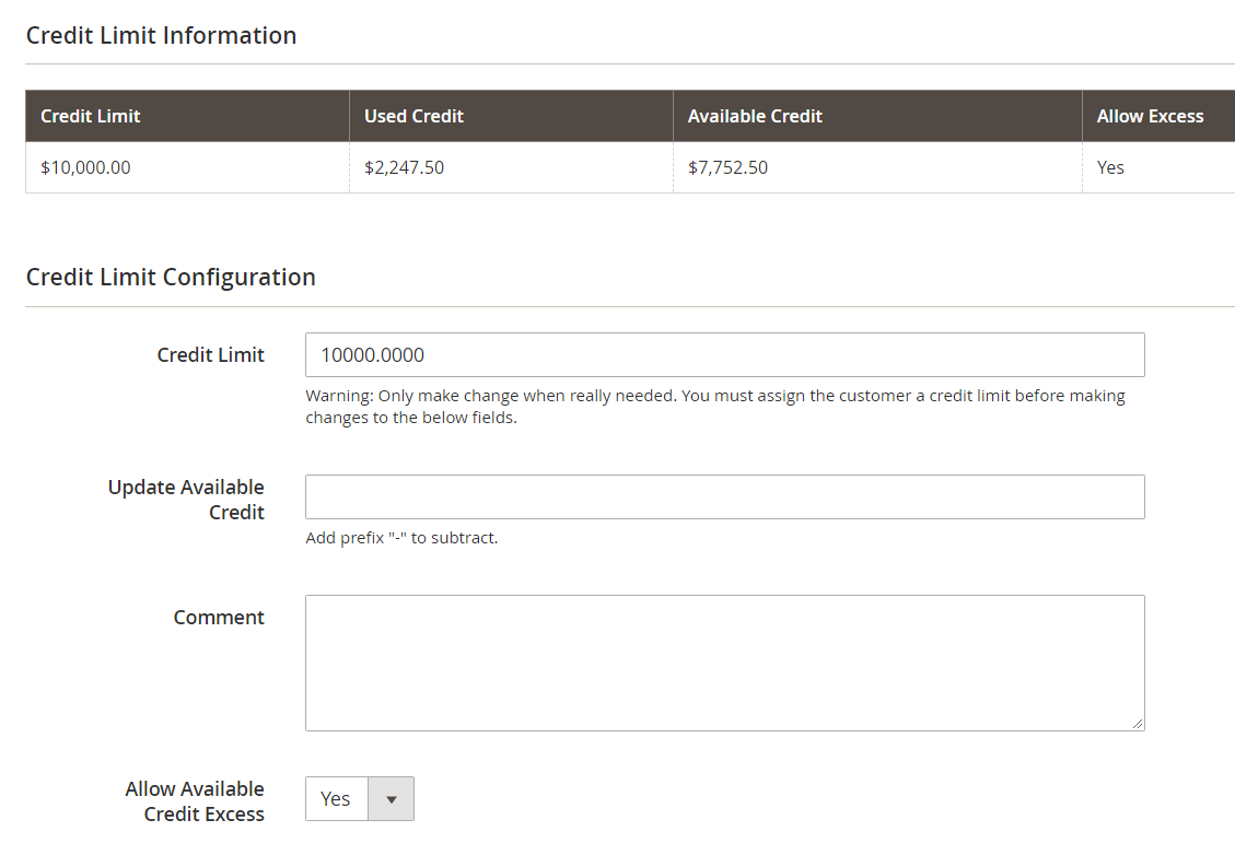 Company Credit Settings in Customer Detail Page