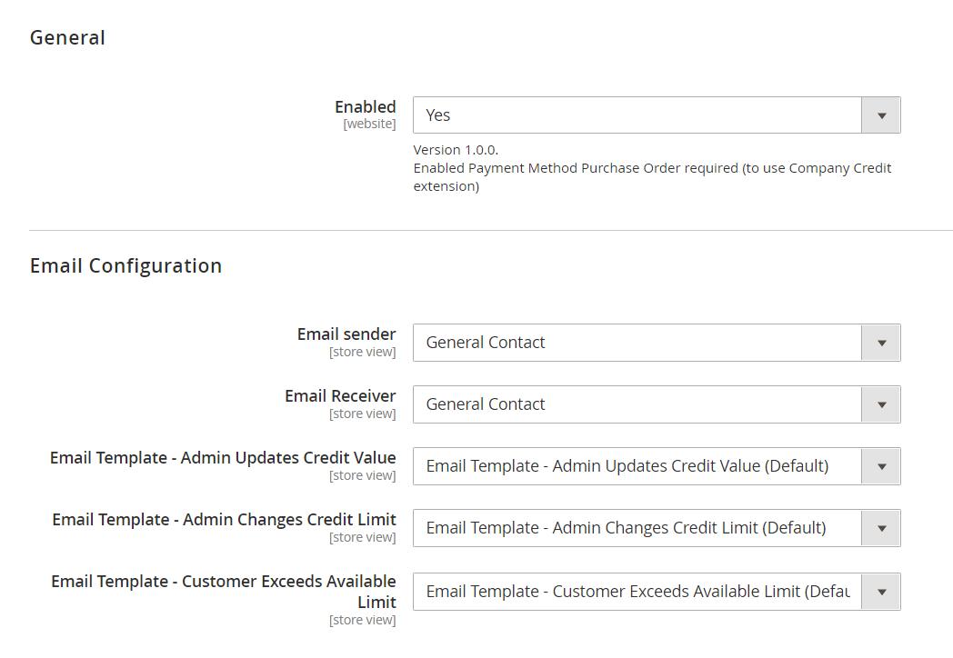 Company Credit General Configuration