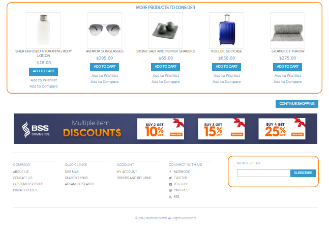 Product suggestion section on Magento Checkout Success Page