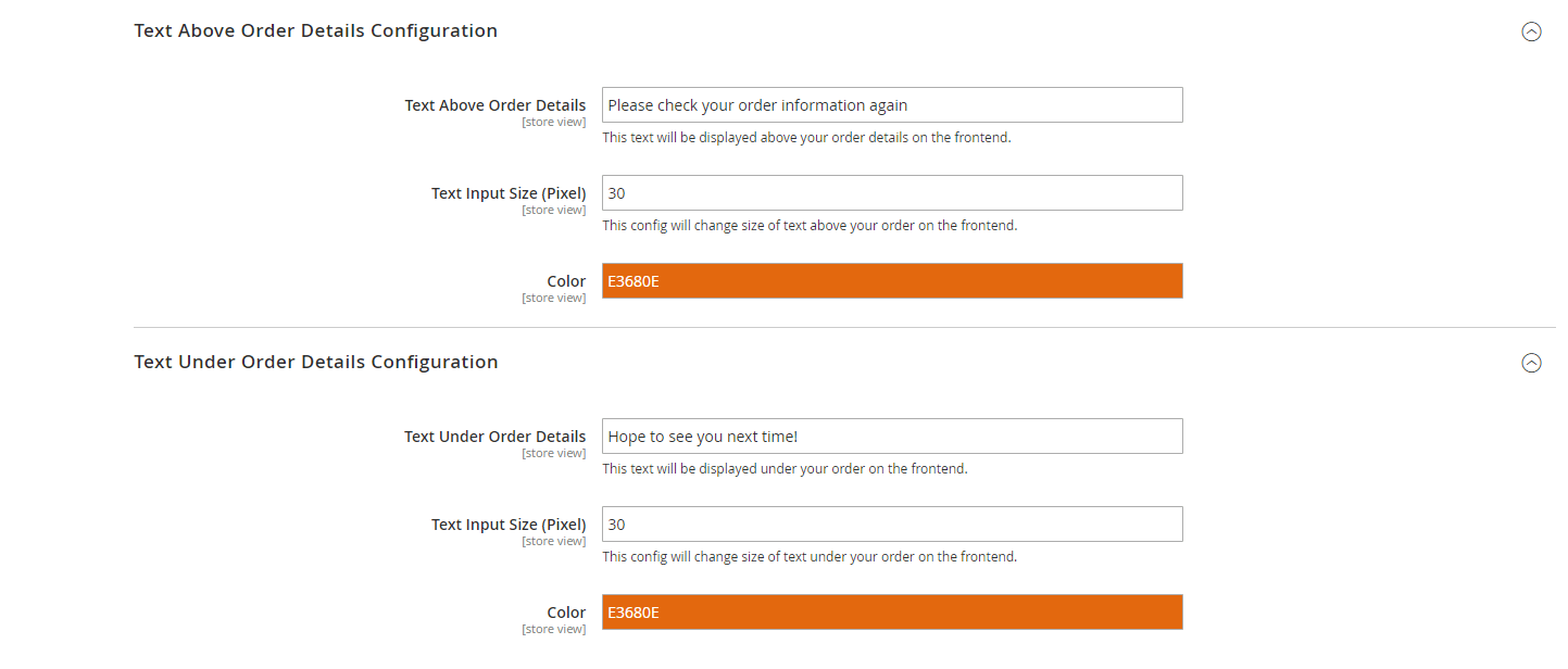 Edit text above and below order information section