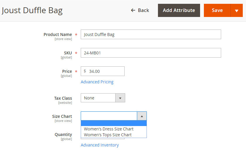 Assign size chart to each product