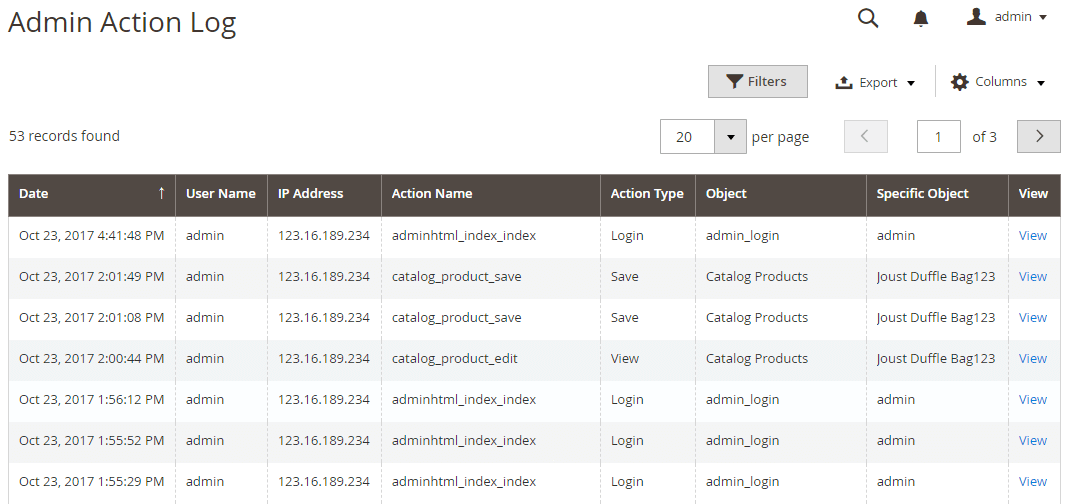 Display a grid table of Admin Actions Log