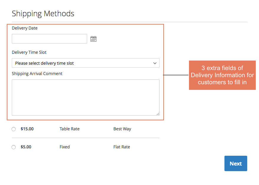 Adds order delivery information for customer to select