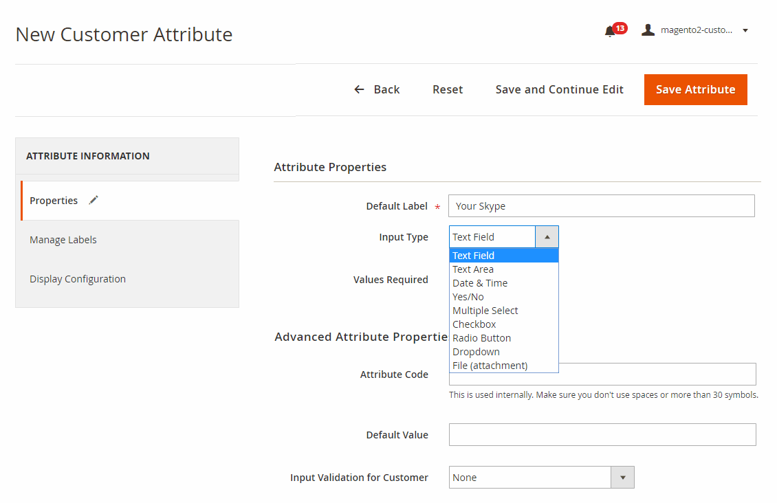 Create customer attributes in various input types