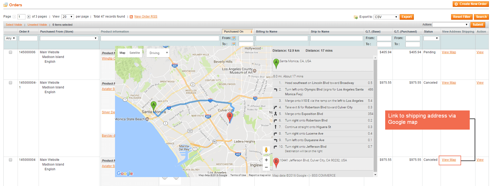 Link to shipping address via Google map by clicking View Map buttons in Order Grid