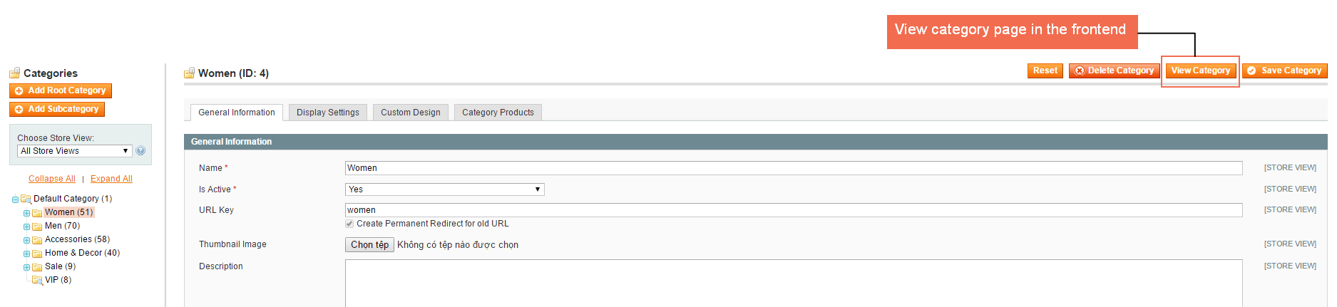 View Category button in Admin-Manage Categories