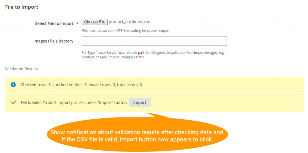 Show validation result after checking data in the CSV file