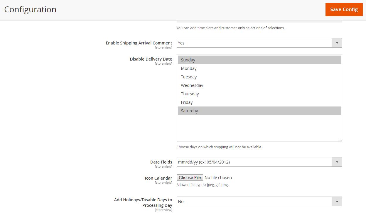 Allows choosing calendar icon