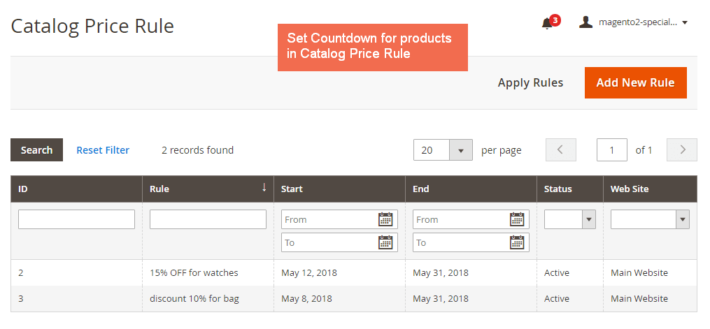Set catalog price rule