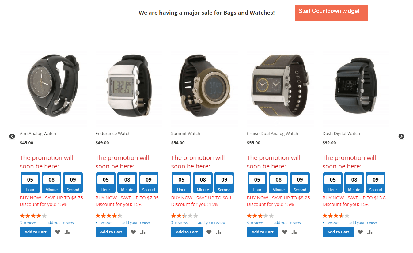 Adds the Start Countdown widget for upcoming sale items