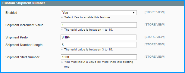 Magento custom order number - set up shipment number