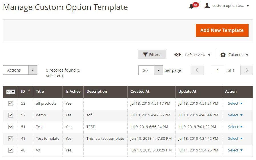 Manage custom options template grid