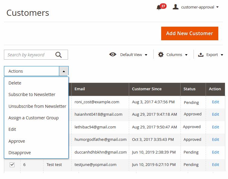 magento 2 approve customer registration-manage