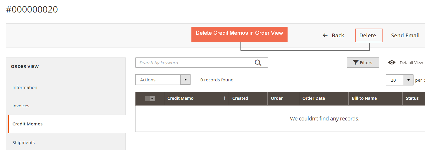 Delete Credit MemoCred from Order View Page