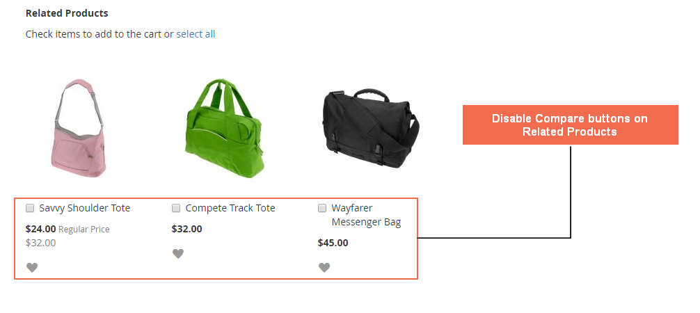 Disable the compare features for Related Product
