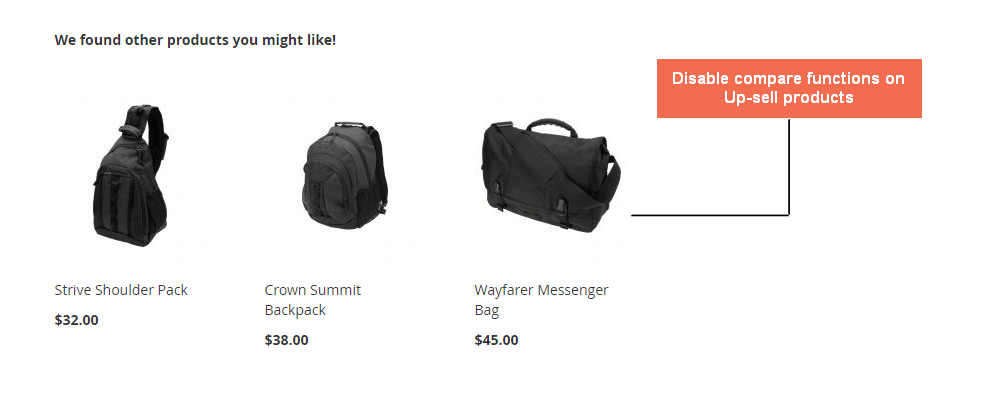 Disable the compare features for Up-sell Product