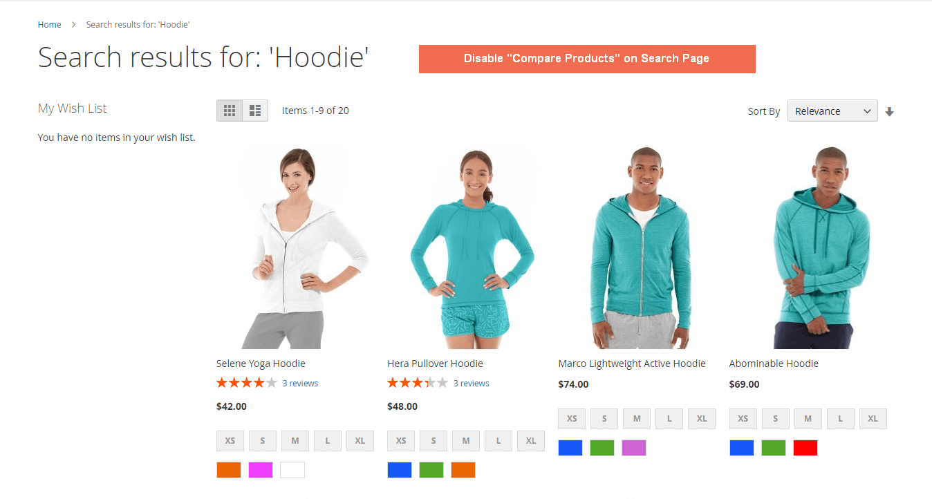 Disable compare feature on Search Result Page in Magento 2