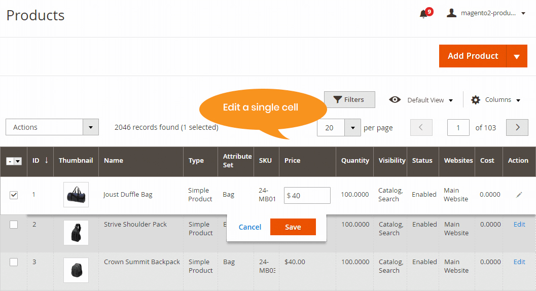 magento 2 admin grid inline edit - edit single cell