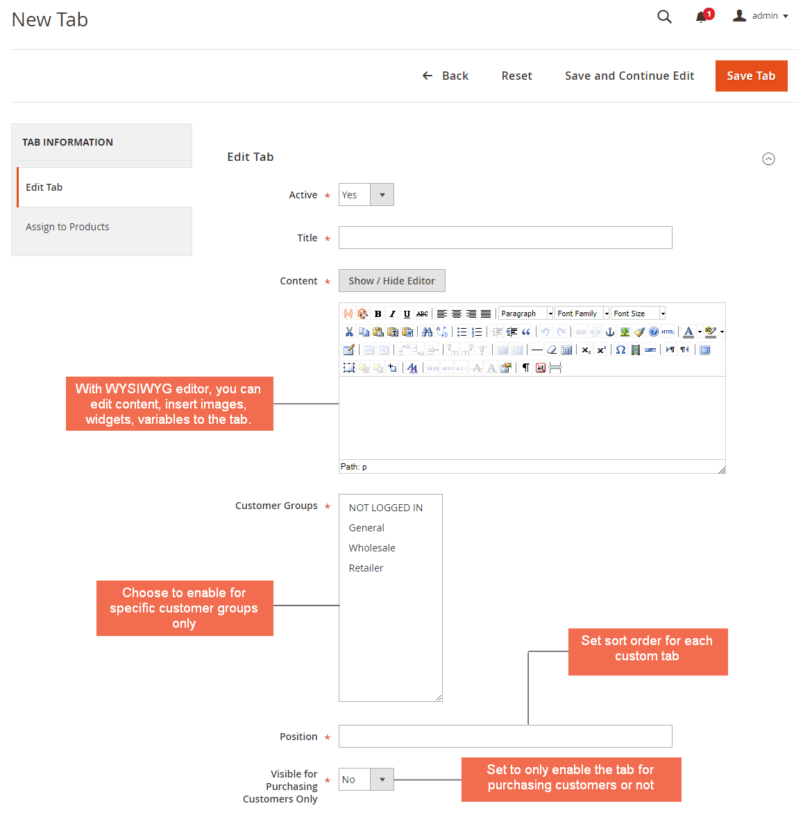 Create a new tab - edit content and settings