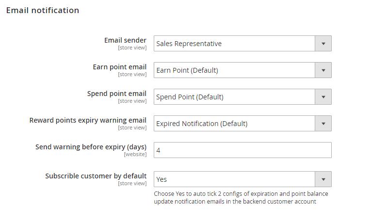 magento customer rewards - email notification