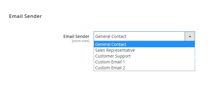 Select an email sender